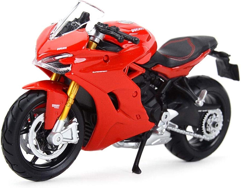 SHLIN-Car model Alloy Model Die Casting Model Ducati Heavy Locomotive Road Race Supersport S Motorcycle Model 1 18 Decoration Toy (color   Red)
