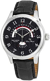 Lucien Piccard Men's The The Capital Stainless Steel Japanese-Quartz Watch with Leather Calfskin Strap, Black, 22 (Model: LP-40050-01)