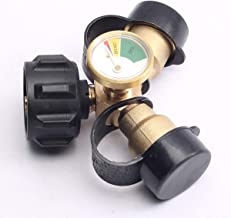 CENTAURUS Replacement Propane Y-Splitter Tee Adapter Connector with Propane Tank Gauge Propane Tank Gauge Level Indicator Leak Detector Gas Pressure Meter, Solid Brass with 1 Female QCC and 2 Male QCC