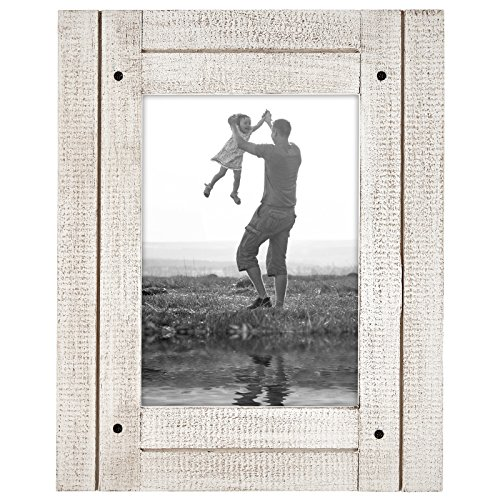 Americanflat 5x7 Rustic Picture Frame in Aspen White with Textured Wood and Polished Glass - Horizontal and Vertical Formats for Wall and Tabletop (WB0507DFWH)