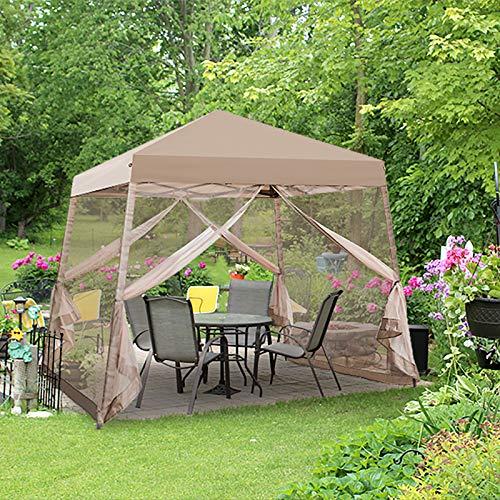 EAGLE PEAK 10' x 10' Slant Leg Easy Setup Pop Up Canopy Tent with Mosquito Netting 64 sqft of Shade, Beige