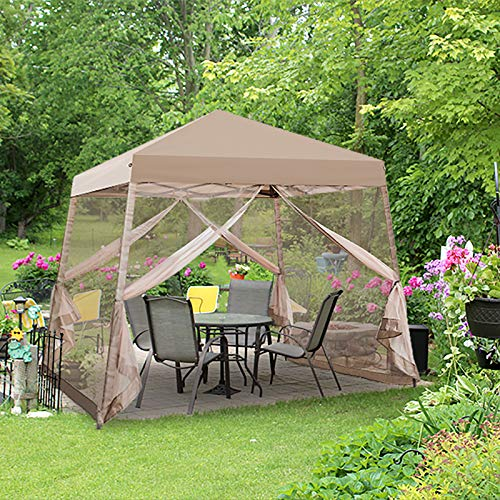 EAGLE PEAK 10' x 10' Slant Leg Easy Setup Pop Up Canopy Tent with Mosquito Netting 64 sqft of Shade (Beige)