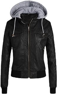 Womens Faux Leather Moto Jacket Coat Patchwork Motorcycle Biker Jacket