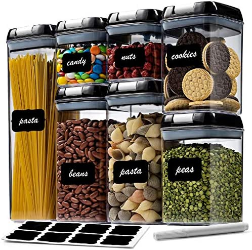 7 Pack Airtight Food Storage Container Set Kitchen Pantry Organization Containers Labels Chalk product image