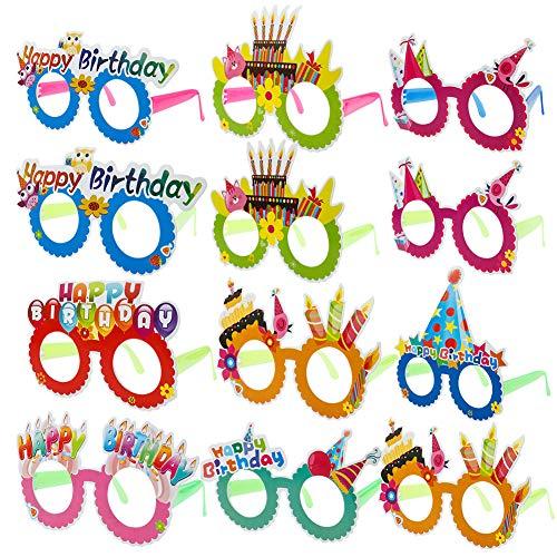 Grapes Garden 12 Stück Brille Geburtstag Spassbrillen Partybrillen Kinder Partybrillen Set Happy Birthday Party Brillen Frames Neuheit