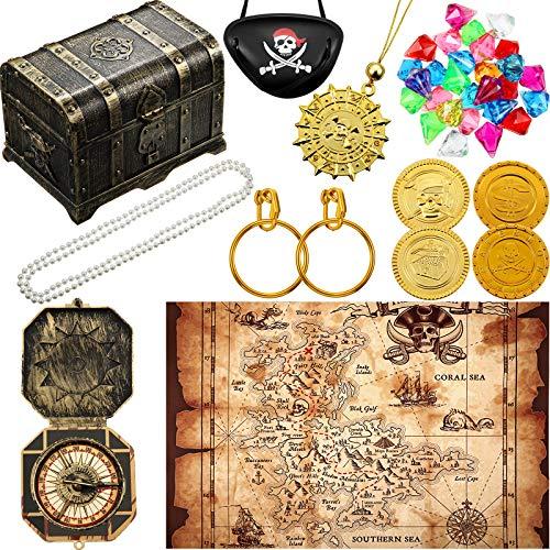 Kit de Cofre de Tesoro Pirata Cofre de Tesoro Pirata Vintage Parche de Ojo Pirata Pendientes de Oro Moneda de Oro Juguete de Plastico Gemas de Tesoro Pirata Mapa Pirata de Brújula