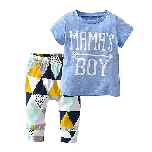 b36d1d13e Baby Boys Mama's Boy Short Sleeve T-Shirt Tops Geometric Pants Clothes Set