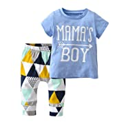 Derouetkia Baby Boys Summer Mama's Boy Short Sleeve T-Shirt Tops Geometric Pants Clothes Set (60(0-6 Months)) Blue