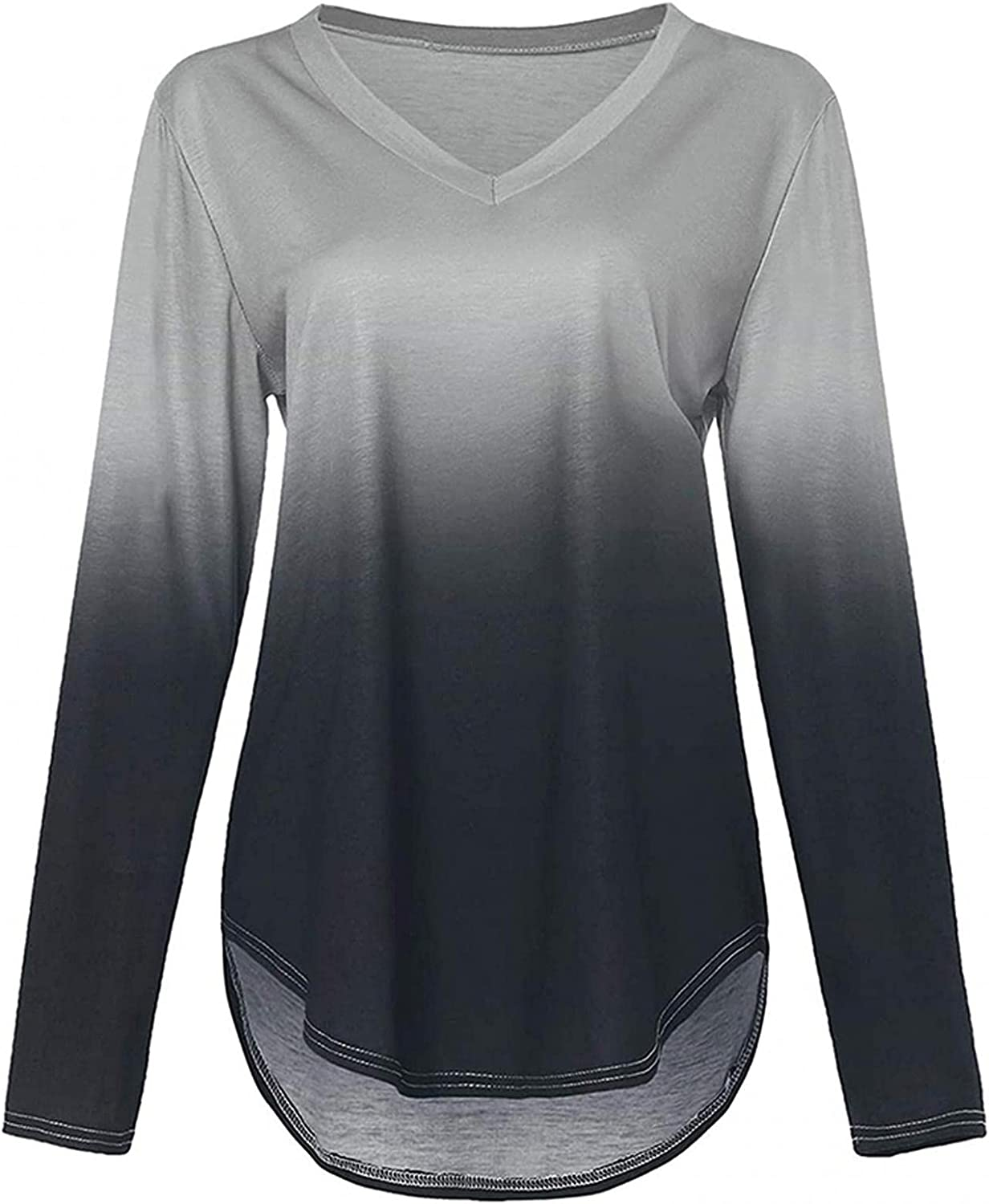 UOCUFY Long Sleeve Tops for Women, Womens Casual Crewneck Loose Long Sleeve T Shirts Tunics Tops Pullover Sweatshirts