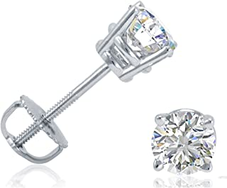 3.00CT 14K White Gold  Princess Square Basket Screw Back Stud Earrings 0.25CT