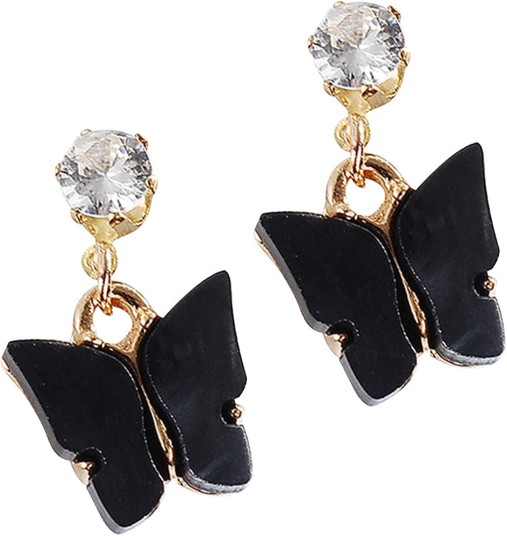 Fashion Creative Elegant Earring Stud for Women Girl charming Jewelry Women Simple Style Colorful Cubic Zirconia Acrylic Butterfly Shape Earrings