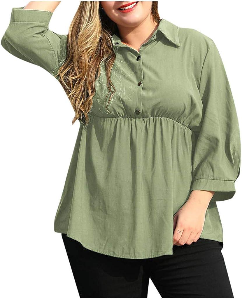 V-Neck Linen Blouse Plus Size Women, NRUTUP V-Neck Cotton Shirt Button Down Flare Oversize Blouse T-Shirt Bell Sleeve (Green, 16)