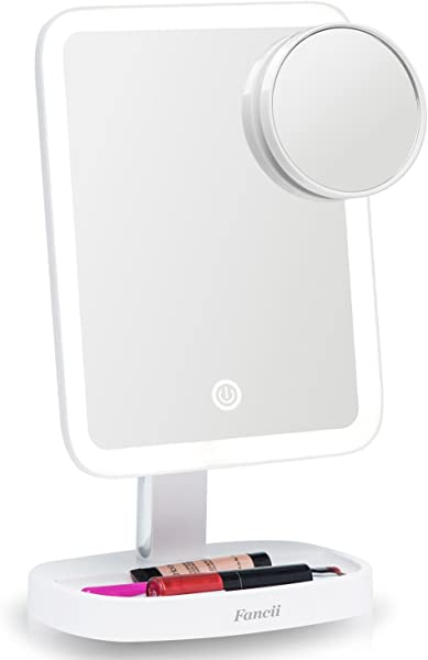 Fancii LED Makeup Vanity Mirror With 3 Light Setting And 15x Magnifying Mirror Choose Between Soft Warm Natural Daylight Or Neutral White Lights Dimmable Countertop Cosmetic Mirror Aura