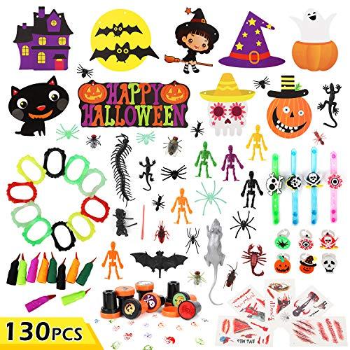 Auney Juego de Juguetes y decoración para Fiestas de Halloween para niños, Surtido de Juguetes de Halloween para Fiestas de Halloween, 130 Piezas