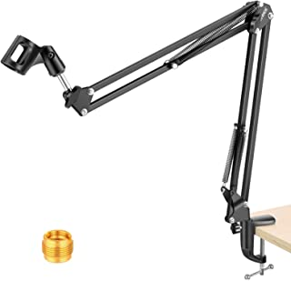 NEEWER Adjustable Microphone Suspension Boom Scissor Arm Stand, Max Load 1 KG Compact Mic Stand for Radio Broadcasting, Vo...