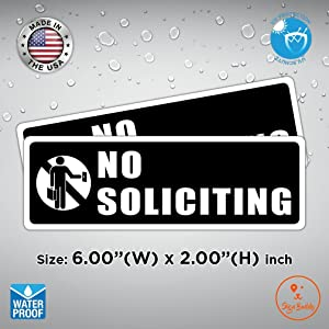 (Pack of 2 pcs) No Soliciting Solicitors Waterproof Vinyl Sticker Door Sign Decal Window Wall Store Home Safe Label