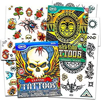 Crenstone Biker Tattoos Party Favor Costume Set  Over 100 Biker and Tribal Temporary Tattoos Bad to the Bone
