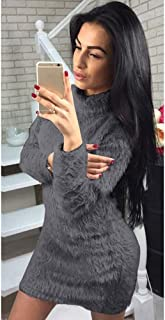 High-Neck Long-Sleeved Sweater Dress, Women's Winter Comfortable Casual Cable Knit Slim Sweater Vest Dress
