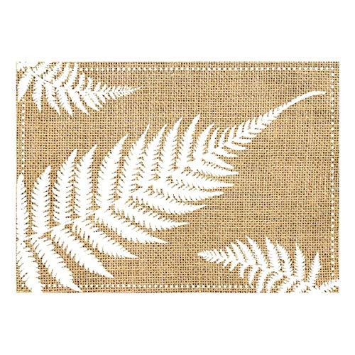 Les Trésors De Lily [Q4137 - Set de Table Toile de Jute 'Champêtre' Beige Blanc (fougères) - 42x30 cm