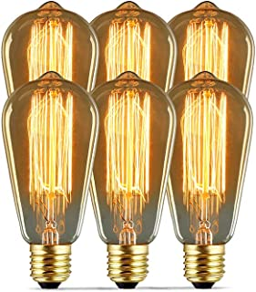 Modvera Lighting 60W Edison Light Bulb - Omni Directional Squirrel Cage Filament Amber Glass Incandescent Lamps - Antique Vintage Old Fashion ST64 2200K Warm White E26 Dimmable 370 Lumens (6 Pack)