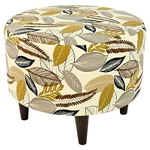 MJL Furniture Designs Sophia Collection Flora-Foliage Series Contemporary Round Ottoman, Driftwood/Brown/Tan/Black/Wooden Legs