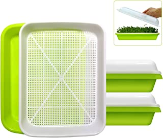 2-Pack Seed Sprouter Tray BPA Free PP Soil-Free Big Capacity Healthy Wheatgrass Grower Sprouting Container Kit with Lid (2...