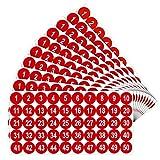 10 Hojas Pegatinas de Números de 1 a 50 Pegatinas de Vinilo con Números Consecutivos Calcomanía Autoadhesiva de 1 Pulgada Etiquetas Impermeables Pegatinas de Inventario de Números (Rojo)