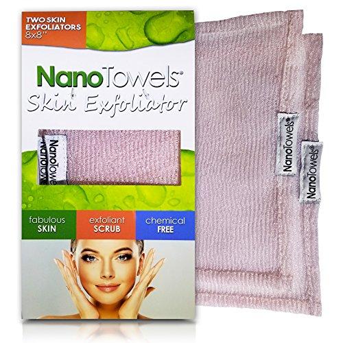 Nano Towels Skin Exfoliating Cleanser   Personal Microdermabrasion Face Wash, Pore Toner & Body Scrub Cloth   Chemical Free Dead Skin and Blackhead Remover. Korean Skin Care Secret   2 Exfoliators