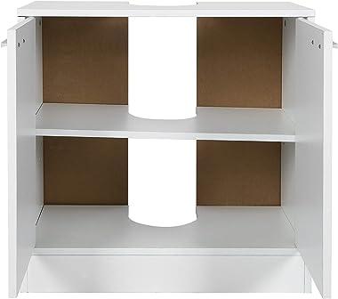 AYNEFY Meuble sous Lavabo pour Salle de Bain Armoire de Rangement Blanc Moderne Armoire de Base avec 2 Portes 4 Compartiments