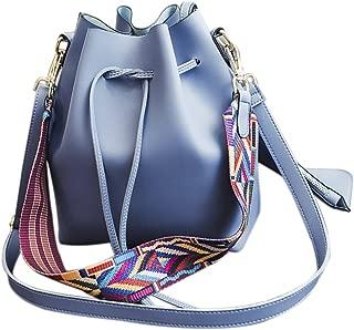 Women's PU Leather Drawstring Bucket Bag Crossbody Bag Shoulder Bag Purse With Colorful Strap