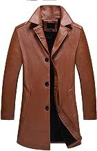 jin&Co Leather Jacket Men Lapel Button Down New Winter Style Mid-Long Moto Biker Jacket Trench Coat Outwear