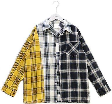 JLTPH Camisetas a Cuadros Suga El Mismo Estilo Coincidencia de Colores Suelto Casual Camisas Cardigan Tops Blusa con Botón