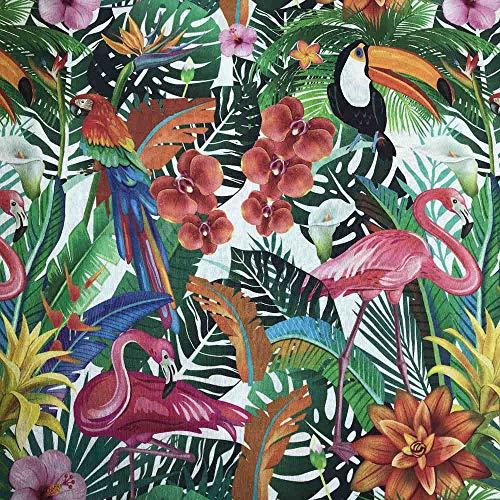 Kt KILOtela Tela de loneta Estampada Digital - Retal de 100 cm Largo x 280 cm Ancho | Botánico, Flamenco, papagayo, tucán - Multicolor ─ 1 Metro