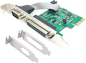 ELIATER PCIe Combo Serial Parallel Expansion Card PCI Express to Printer LPT Port RS232 Com Port Adapter IEEE 1284 Controller Card WCH382 Chip for Desktop PC with Low Bracket