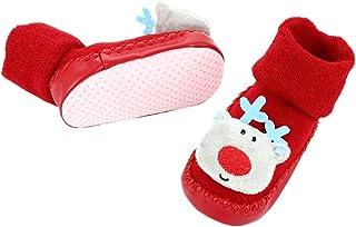 PRETYZOOM, Calcetines de Navidad para Niños Bebés Invierno Calcetines de Algodón Antideslizantes Zapatillas Borrosas de Santa Claus para Bebés Niños Pequeños Ropa de Invierno para Niñas