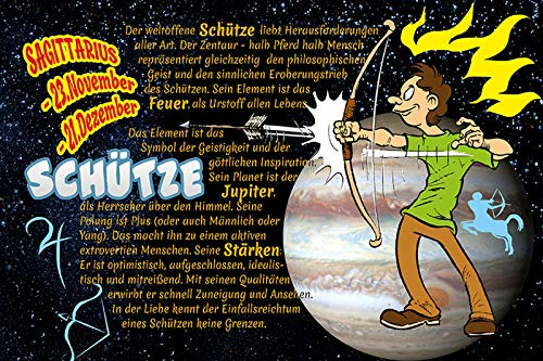 Metalen bord beschermer Sagittarius sterrenbeeld dierencirkel. grappig comic
