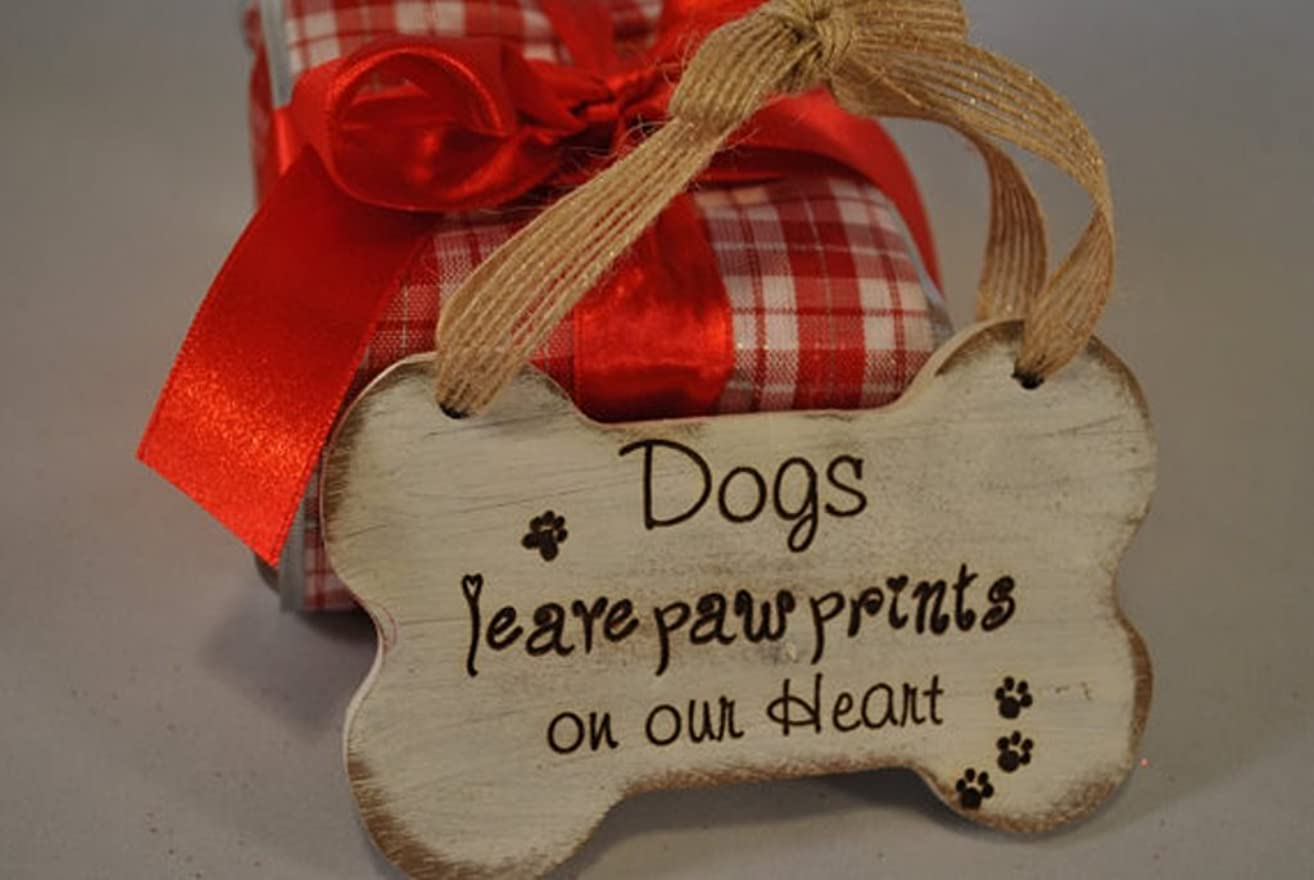 Dog Ornament - Dogs Leave Paw Prints On Our Hearts, Handmade Bone Ornament, Puppy Christmas Ornament.