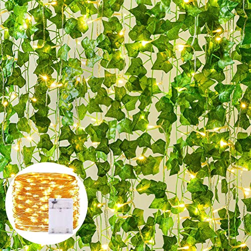 Danolt 79 Ft Artificial Ivy Garland with Lights 12 Packs Green Vine Leaves with 100 LED Hanging Vine Fake Plants Decorations Wedding Party Garden Wall Decoration, Battery Powered