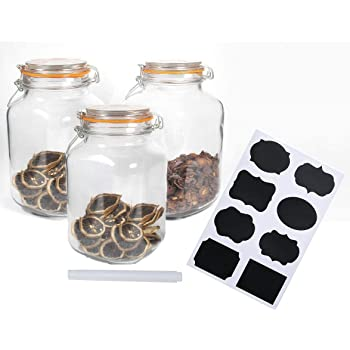 Encheng 50 oz Glass Jars With Airtight Lids And Leak Proof Rubber Gasket,Large Wide Mouth Mason Jars With Hinged Lids For Kitchen Canisters 1500ml,Big Glass Storage Containers,Gallon Jars 3 Pack