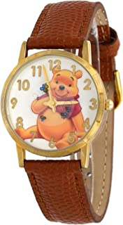 Disney WTP103 Women's Gold Tone Floating Bees Brown Winnie The Pooh Leather Band Watch