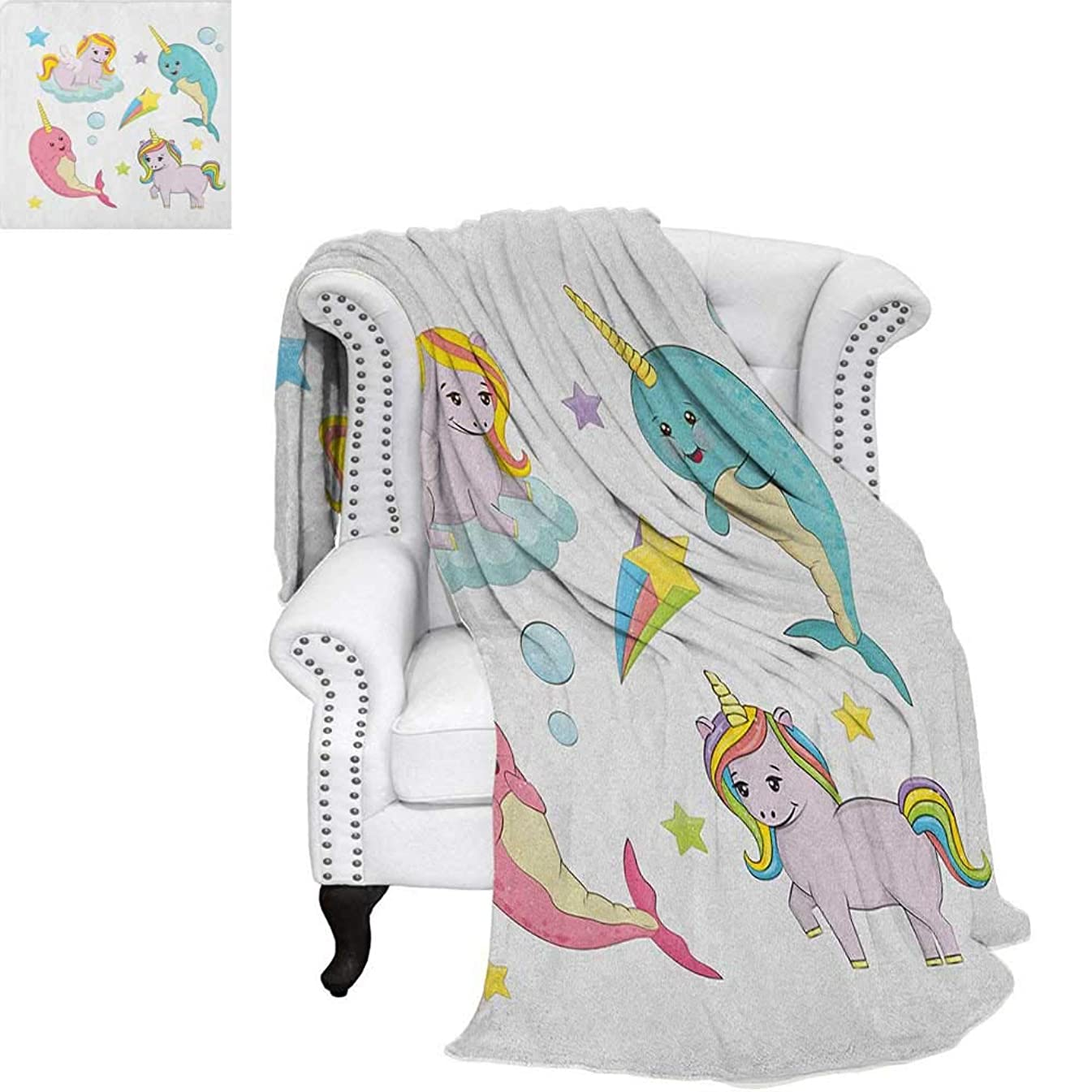 NarwhalFlannel blanketRainbow Colored Unicorns of The Land and Ocean Girly Illustration Colorful Cartooncouch Blanket 62