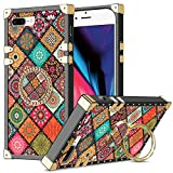 Wollony for iPhone 7 Plus/8 Plus Case, Kickstand Ring Square Edge for Women Girl Retro Flower Protective Heavy Duty Metal Reinforced Corners Shockproof Cover for iPhone 7 Plus 8 Plus 5.5inch Mandala
