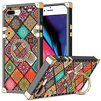 Wollony for iPhone 7 Plus/8 Plus Case Kickstand Ring Square Edge for Women Girl Retro Flower Protective Heavy Duty Metal Reinforced Corners Shockproof Cover for iPhone 7 Plus 8 Plus 5.5inch Mandala