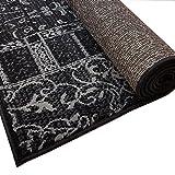 Design Velours Kurzflor Teppich »Bombay« Patchwork-Look Ornament schwarz grau, Größe:120x170 cm - 2
