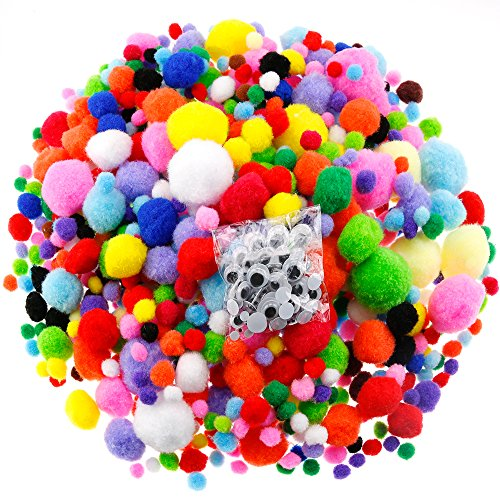 Caydo 1400 Pieces 5 Sizes Multicolor Pom Poms Assorted Pompoms