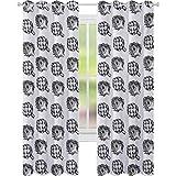 Cortinas opacas, Granja Verduras Alimentos Nutritivos y Deliciosos Opciones Veganas en Blanco y Negro, 150 cm de largo Cortina opaca para sala de estar, Negro Blanco