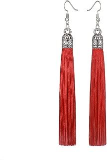 Henraly Wow! Tassel Earrings Women Fashion Jewelry Bohemian Drop Dangle Long Earrings Silk Fabric Ethnic Vintage Earrings