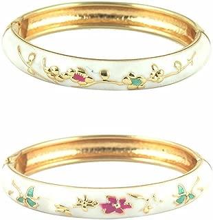 Cloisonne Bracelet Jewelry Floral Enameled Bangles Pack Gift for Girls Women 55D13
