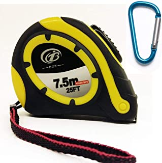 """7.5 Meter-25 Feet 3/4"""" inch Professional Retractable Steel Measuring Tape Measure Ruler with Posi-Lock and Belt Clip"""