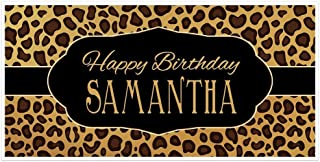 Leopard Animal Print Personalized Birthday Banner Party Decoration Backdrop